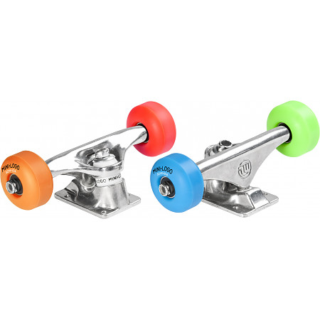 """Mini Logo Truck Assembly - 8"""" Polished - ML Bearings - 52mm 101a Assorted Color Wheels"""